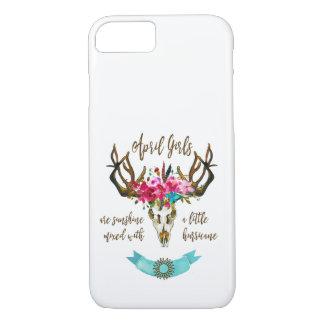 April Girls Are Sunshine. Boho Skull Bohemian iPhone 8/7 Case