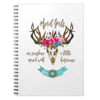 April Girls Are Sunshine. Boho Skull Bohemian Spiral Notebook