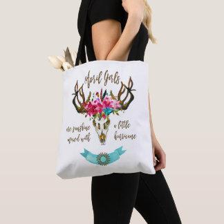 April Girls Are Sunshine. Boho Skull Bohemian Tote Bag