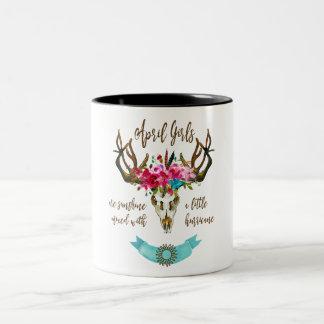 April Girls Are Sunshine. Boho Skull Bohemian Two-Tone Coffee Mug