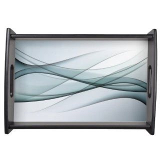 Aqua Abstract Serving Tray