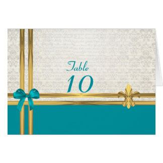 Aqua an gold on white damask table number