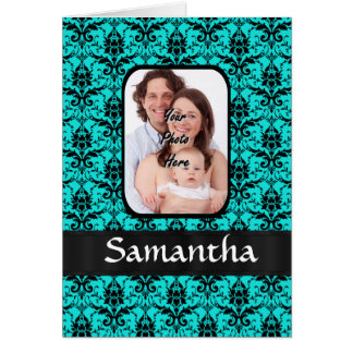 Aqua and black damask card