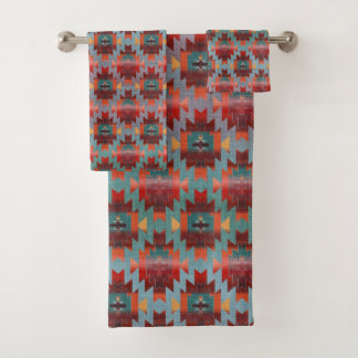 Aqua and Burgundy | Southwestern Style Bath Towel Set
