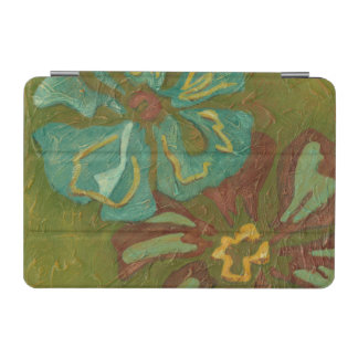 Aqua and Burnt Orange Flowers on Green Background iPad Mini Cover