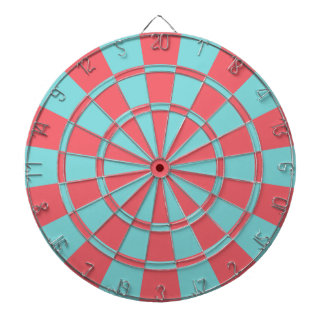 Aqua And Coral Dartboard