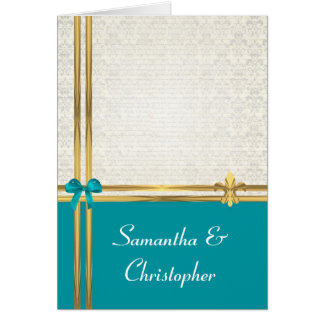 Aqua and gold on  damask card
