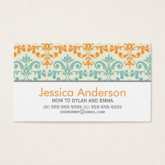 Aqua and Orange Damask Pattern Calling Cards