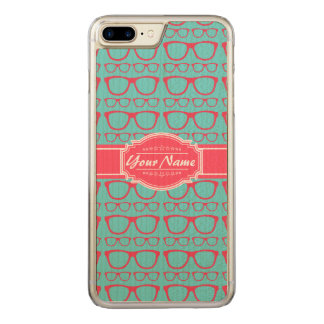 Aqua and Pink Geek Glasses Carved iPhone 8 Plus/7 Plus Case