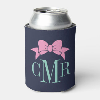 Aqua and Pink Preppy Bow Monogram Can Cooler