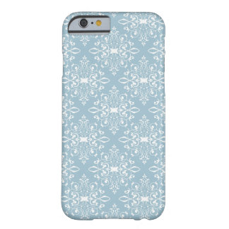 Aqua and White Damask Barely There iPhone 6 Case