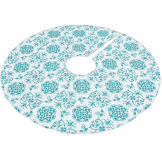 Aqua and White Floral Damask Pattern Brushed Polyester Tree Skirt