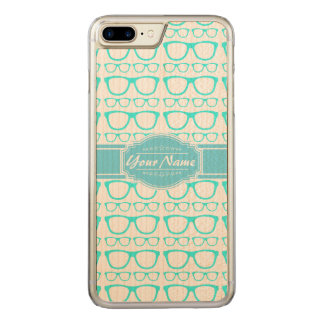 Aqua and White Geek Glasses Carved iPhone 8 Plus/7 Plus Case