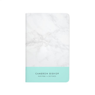 Aqua and White Marble | Modern Personalised Journals
