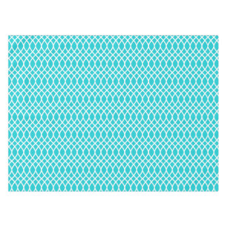 Aqua and White Patterned Tablecloth