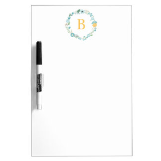 Aqua and Yellow Monogrammed Floral Wreath Dry Erase Board