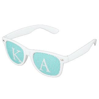 Aqua Belle Aqua Blue and White Text Wedding Retro Sunglasses