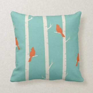 Aqua Birch Tree orange Birds Throw pillow bird Cushion