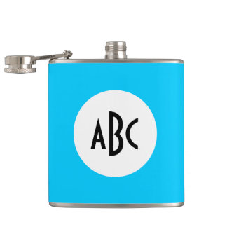 Aqua Black and White Monogram Hip Flask