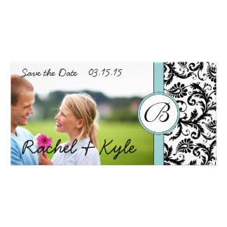 Aqua & Black Damask Save the Date Your Photo Card