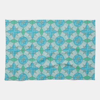 Aqua Blue and Green Geometric Tiled Pattern Tea Towels