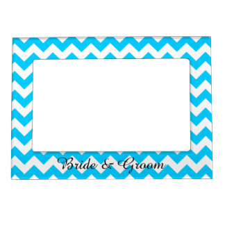 Aqua Blue and White Chevron Wedding Magnetic Picture Frame