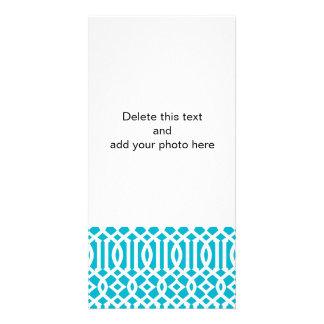 Aqua Blue and White Modern Trellis Pattern Photo Card