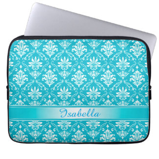 Aqua Blue and White Named Damask Laptop Computer Sleeves