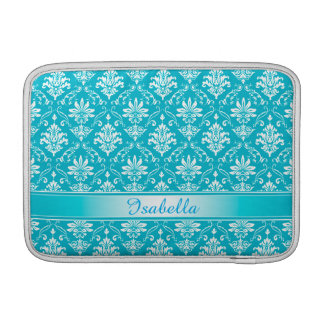Aqua Blue and White Named Damask MacBook Sleeve