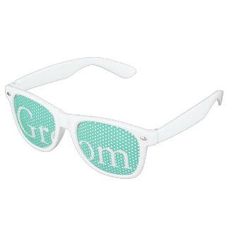 Aqua Blue Box with White Wedding Detail Retro Sunglasses