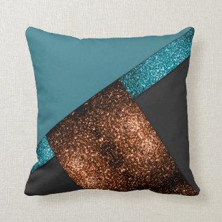 Aqua blue bronze sparkles color block PLdesign Throw Pillow