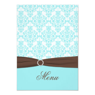 Aqua Blue, Brown, White Damask Menu Card 13 Cm X 18 Cm Invitation Card