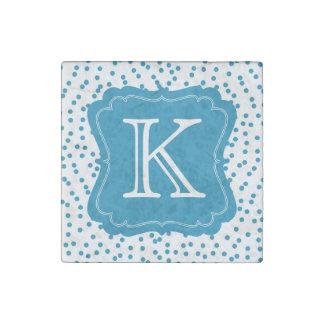 Aqua Blue Confetti Dots Monogram Stone Magnet