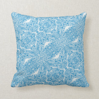Aqua Blue Damask Designer Throw Pillow