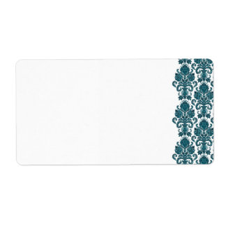 Aqua Blue Damask Label
