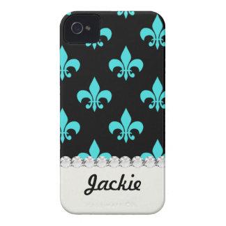 aqua blue fleur de lis pattern Case-Mate iPhone 4 cases