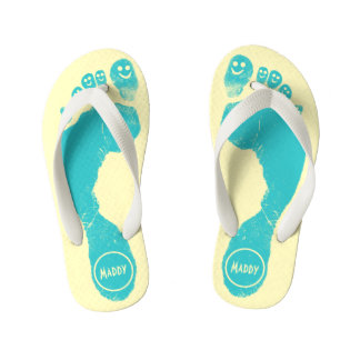 Aqua Blue Footprints Smiley-Toes™ Happy Sun Yellow Kid's Jandals