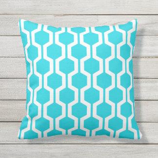 Aqua Blue Geometric Trellis Outdoor Pillows