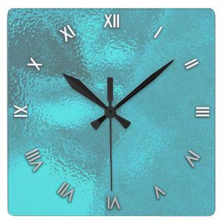 Aqua Blue Glass Look Wall Clock