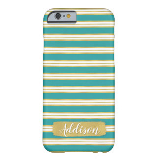 Aqua Blue Gold Stripe Pattern Custom Name Barely There iPhone 6 Case
