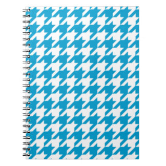 Aqua Blue Houndstooth Notepad Notebook