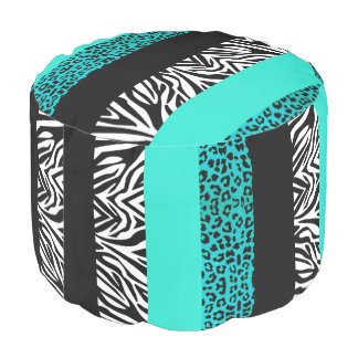 Aqua Blue Leopard and Zebra Animal Print Pouf