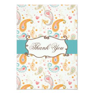aqua,blue mod Thank You Card 13 Cm X 18 Cm Invitation Card