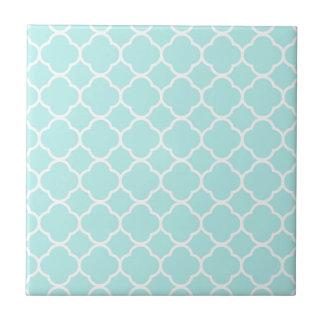 Aqua Blue Moroccan Pattern Small Square Tile
