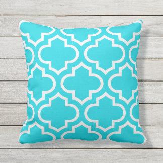 Aqua Blue Moroccan Quatrefoil Outdoor Pillows