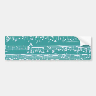 Aqua Blue music notes Bumper Sticker