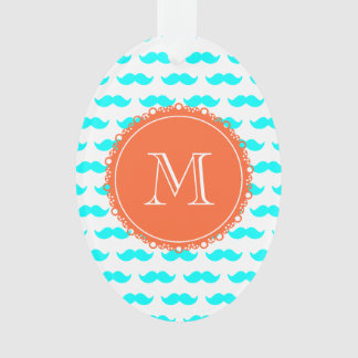 Aqua Blue Mustache Pattern, Coral White Monogram Ornament