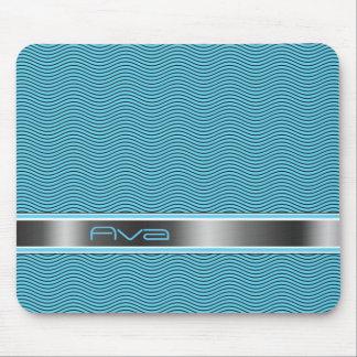 Aqua Blue Named Waves Mouse Pad