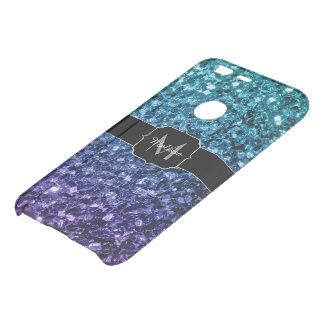 Aqua blue Ombre glitter sparkles Monogram Uncommon Google Pixel Case