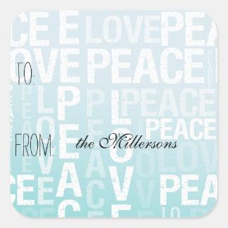 Aqua Blue Ombre Love Peace Gift Tag Square Sticker